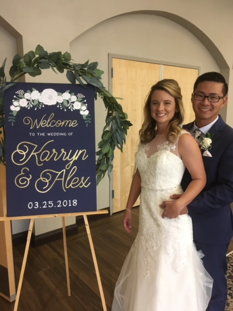 Our clients send in the best photos!! This wonderful welcome sign greets your guests as they make their way into your ceremony or reception