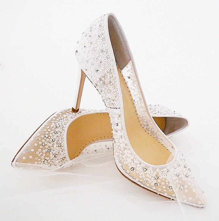 Sequins & sparkle galore! Sexy heels for your walk down the aisle. Elsa designed by Bella Belle. 4 heel, sheer mesh, ivory