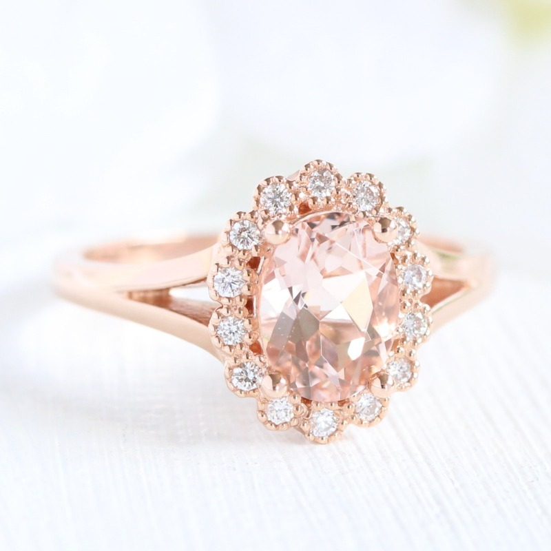 Vintage Halo Morganite Engagement Ring in Split Shank design. See more gorgeous Morganite Engagement Rings by La More Design ~