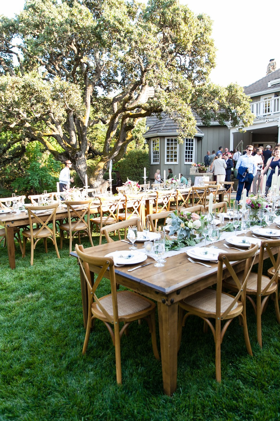wedding reception in the backyard