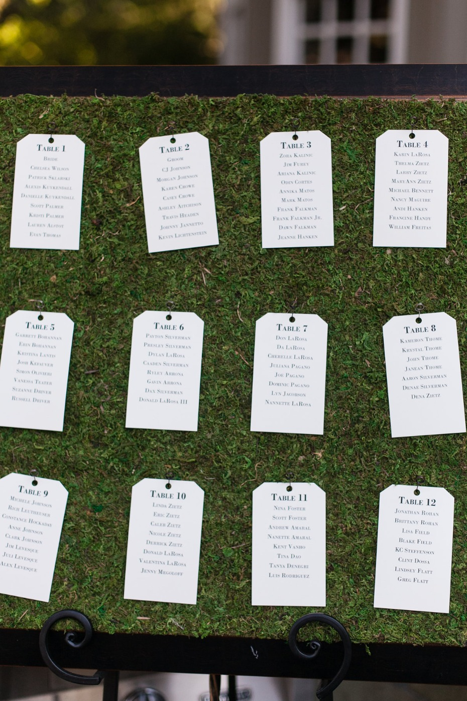 wedding seating assignment display