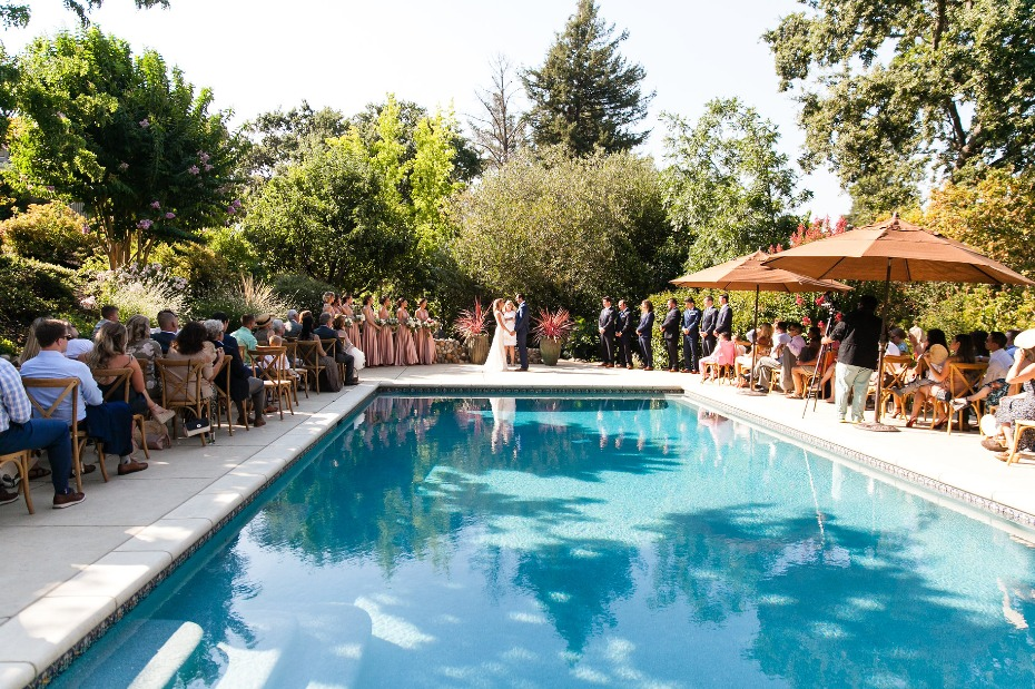 wedding ceremony at the pool