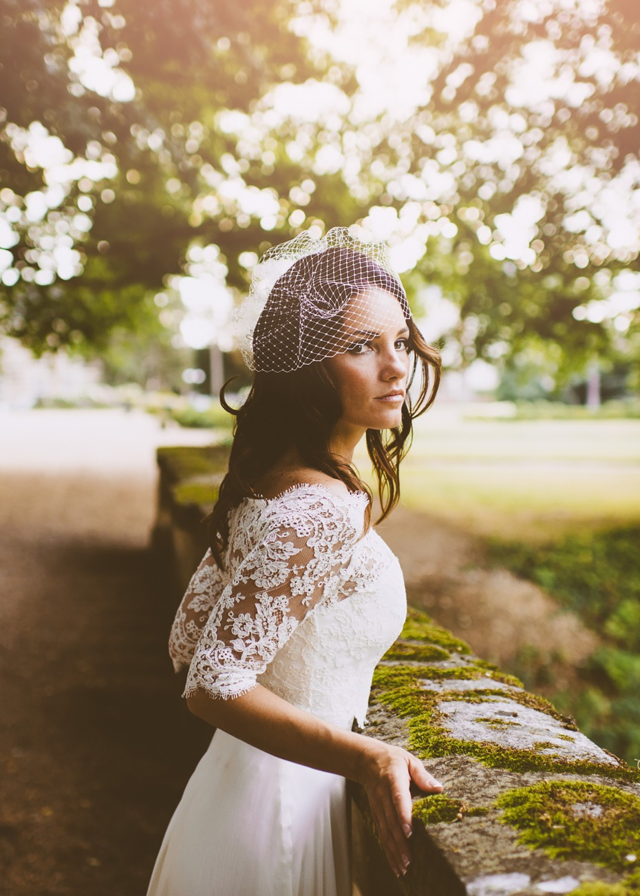 Wedding dress with lace top overlay