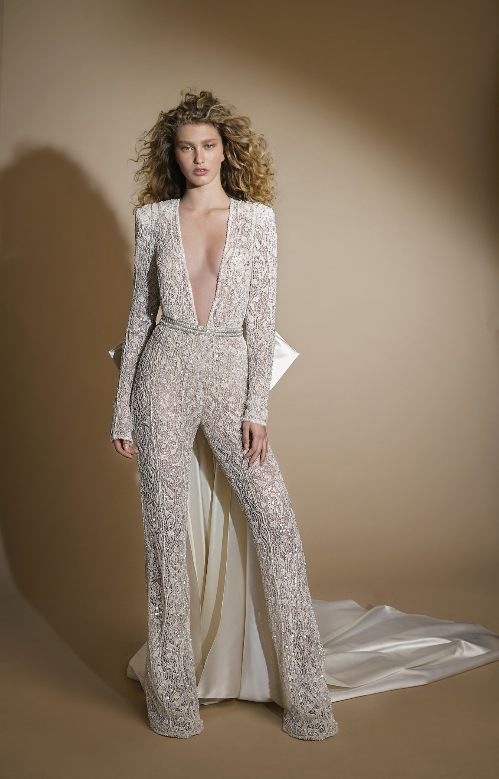 glamorous tailored jumpsuit with accentuated shoulders from Galia Lahav