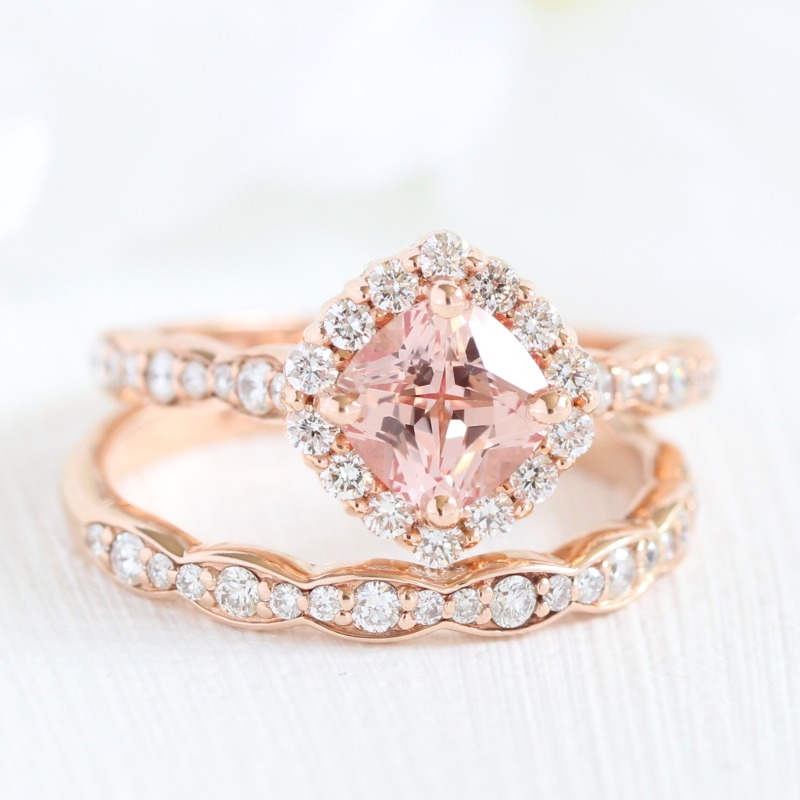 Pretty in Peach ~ Beautiful Bridal Set of Cushion Peach Sapphire Halo Engagement Ring in Scalloped Band paired with matching Scalloped