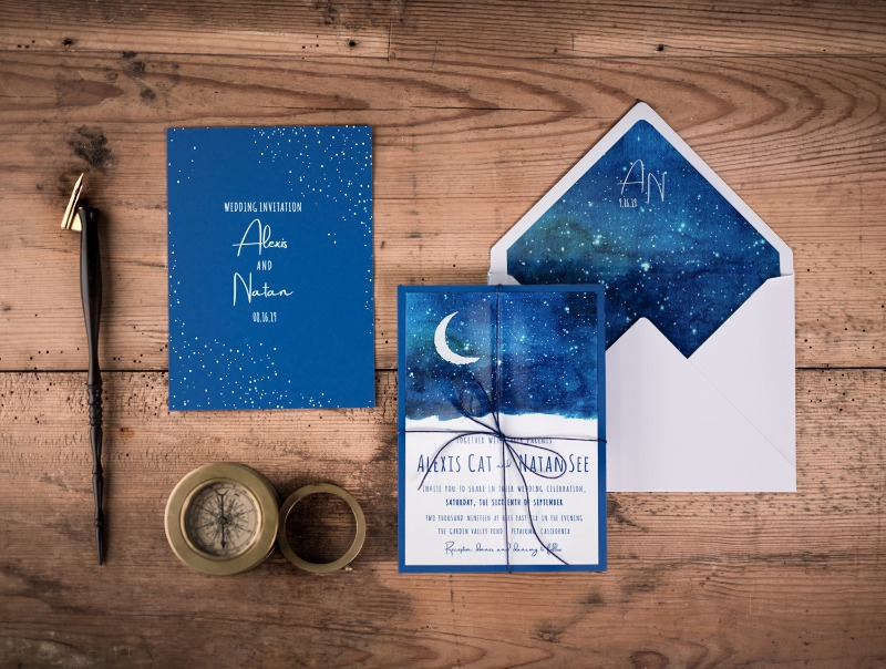 Wedding invitations with night sky