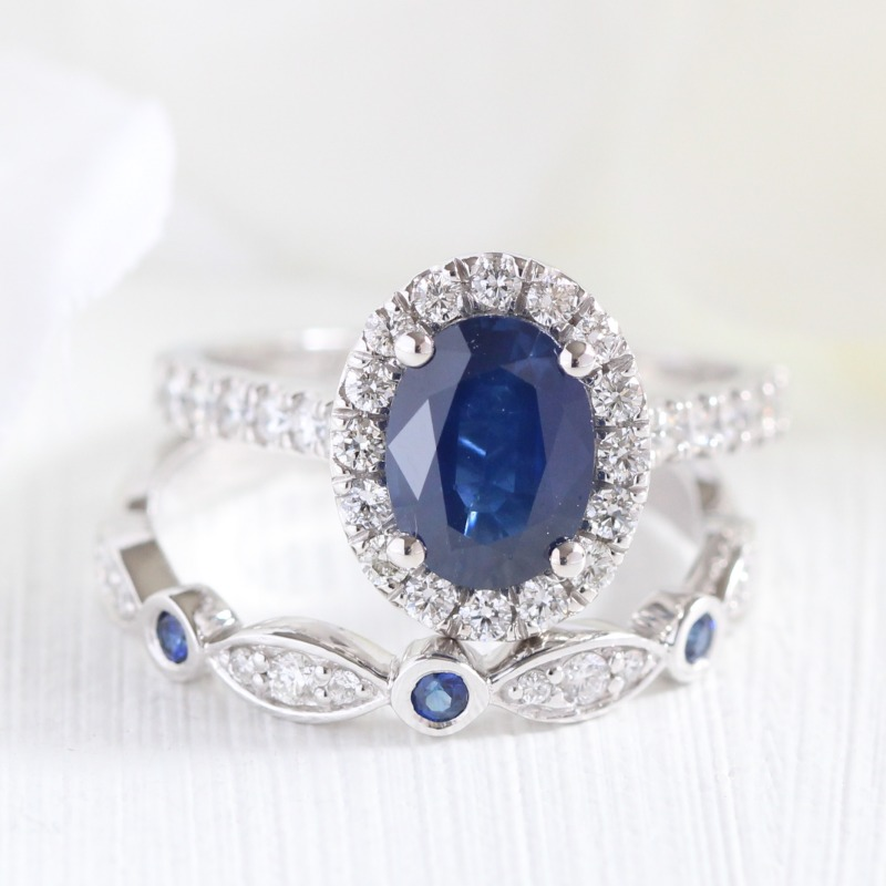 Royal Blues ~ See more beautiful blue sapphire engagement rings and bridal sets by visiting La More Design!