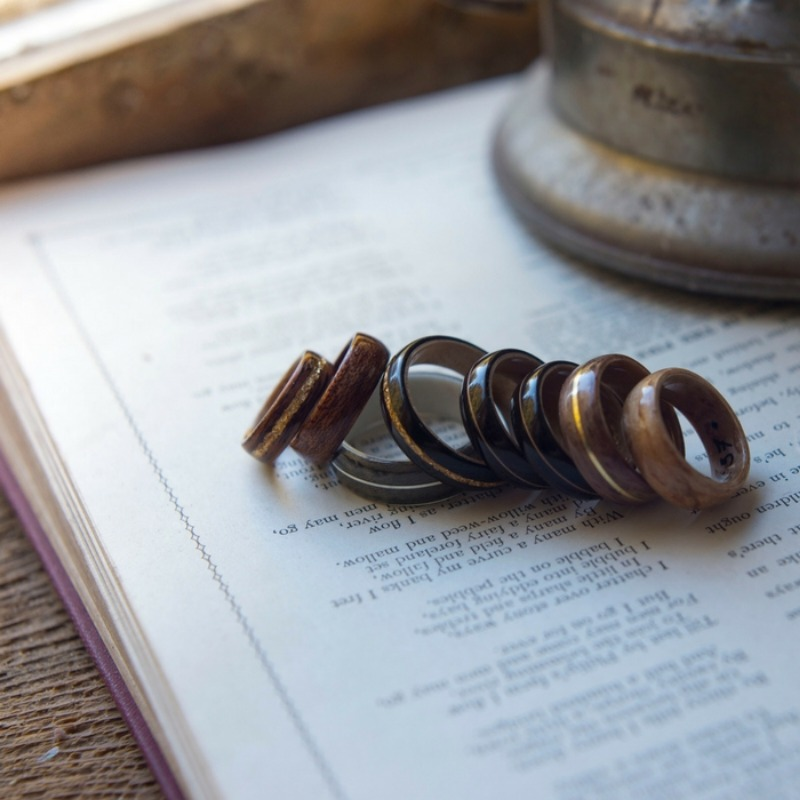 A collection of handcrafted bentwood wedding rings. Each ring is custom made and tailored to each individual. These wood rings are