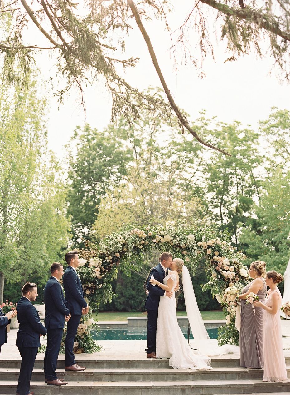 Poolside backyard wedding