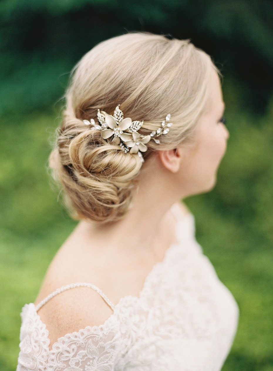 Low updo for the bride