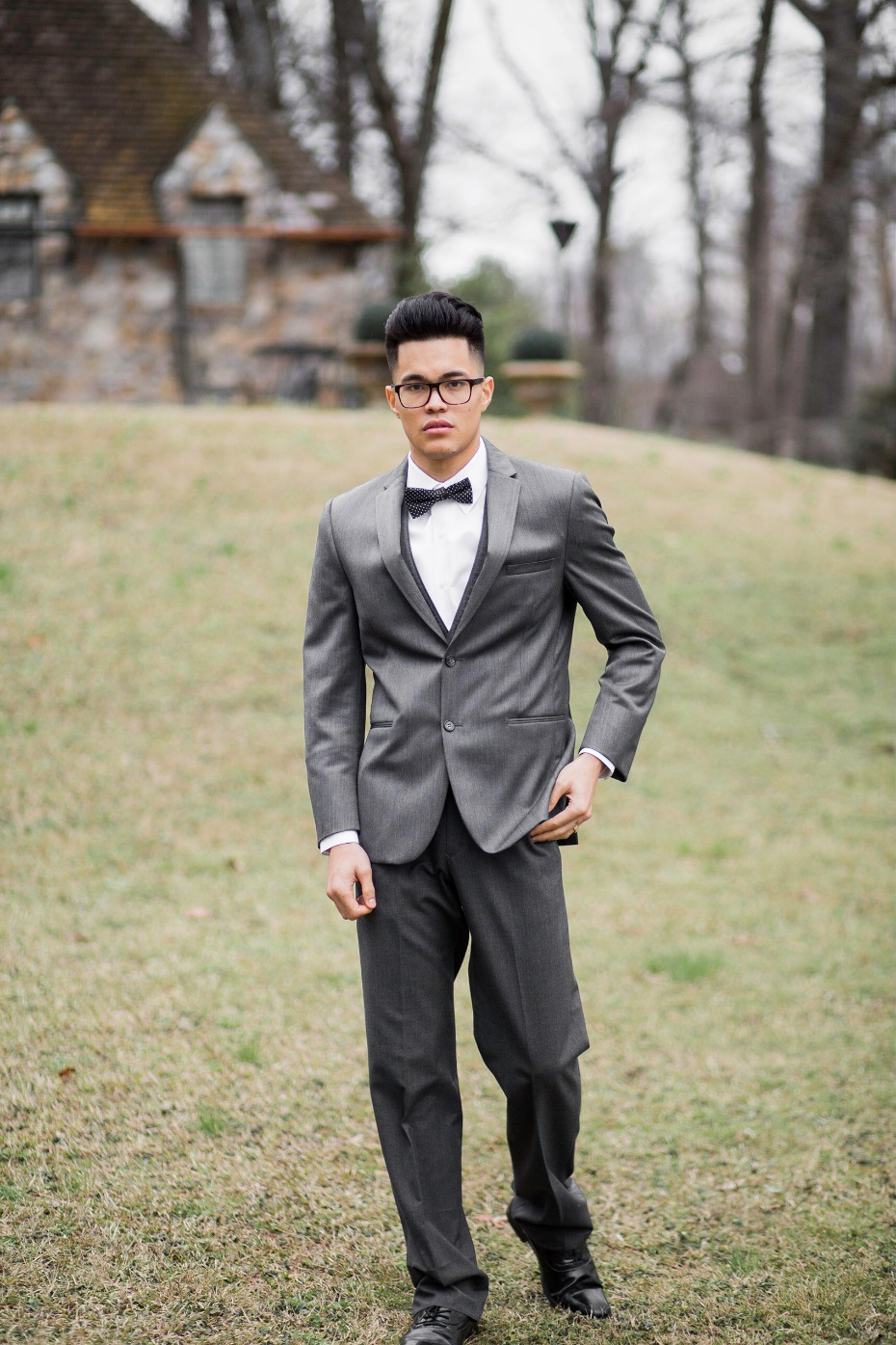 Charcoal grey suit for the groom