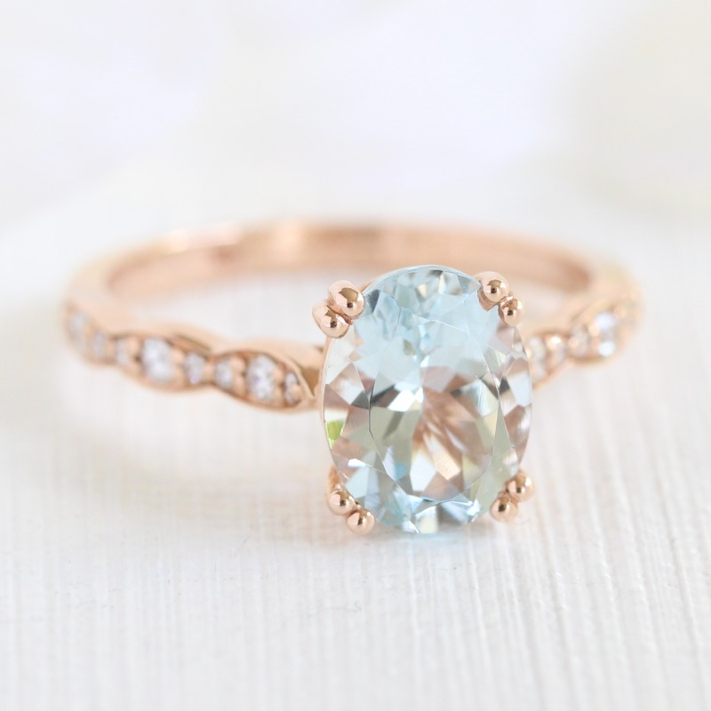 Gorgeous Oval Aquamarine Solitaire Engagement Ring in Scalloped Diamond Band set in Rose Gold ~ See more of our Grace Solitaire Engagement
