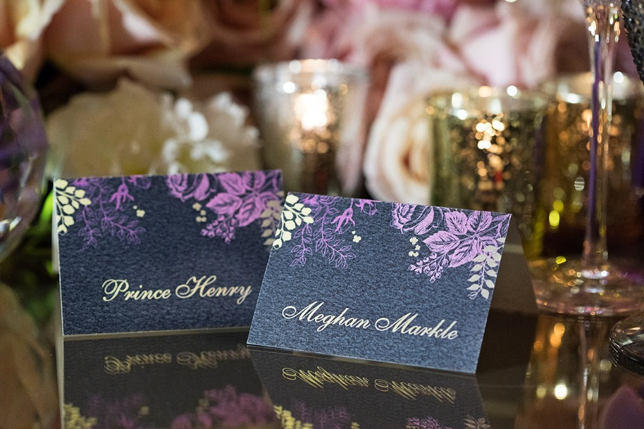 place cards in purple and black