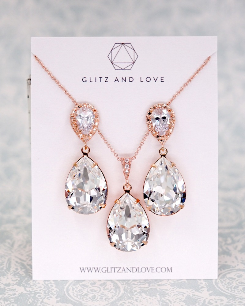Rose Gold Jewelry Set, Swarovski crystal, earrings, necklace, teardrop, bridal jewelry, wedding, brides, bridesmaids, www.glitzandlove