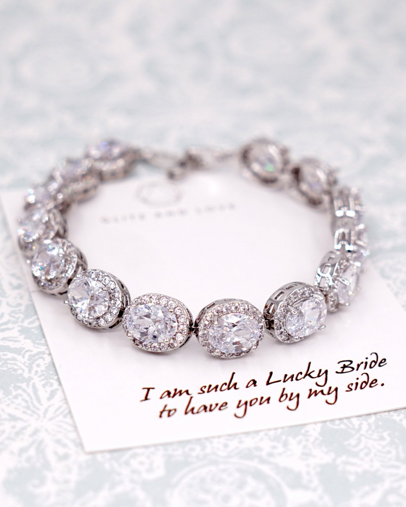 Oval Cubic Zirconia Bracelet, bridal , wedding, jewelry, bridesmaid bridal shower gifts, brides , www.glitzandlove.com