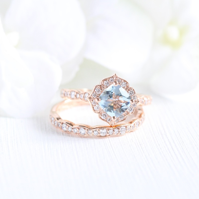 Delicate Bridal Set of Cushion Aquamarine in Mini Vintage Floral design with Scalloped Diamond Band paired with a matching wedding