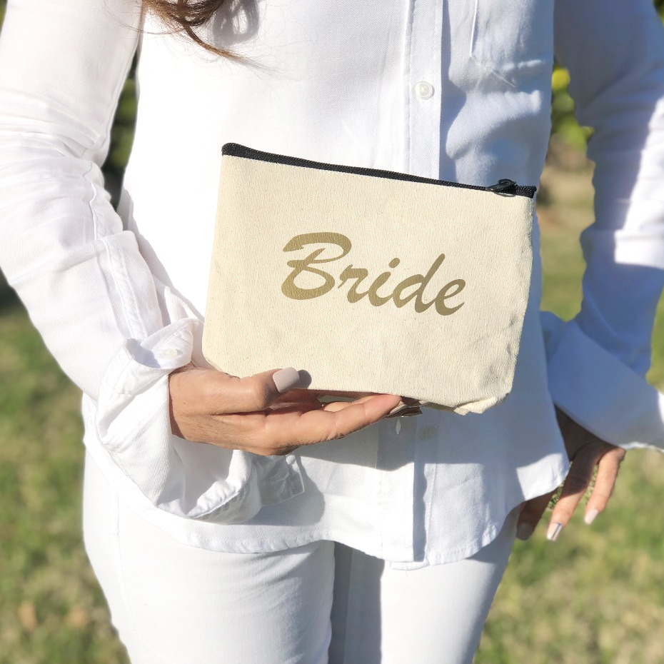 Bride cosmetic bag from The Tote Bag Factory