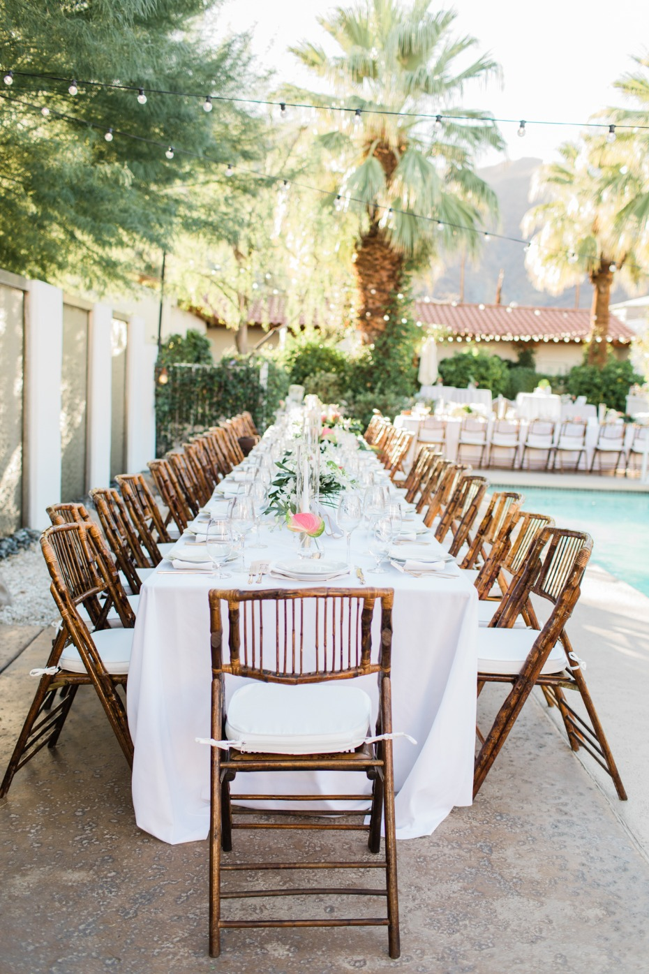Family style poolside reception