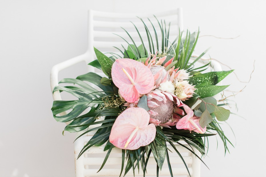 Tropical wedding bouquet with protea