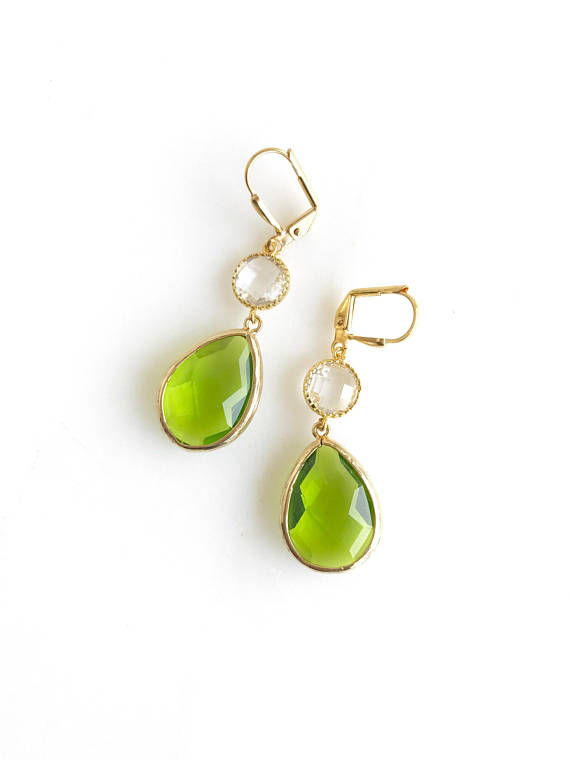 Olive Green and Clear Crystal Dangle Earrings. Drop. Fashion Jewelry. Christmas Gift. Fall Jewelry. Autum Earrings. Drop Earrings.