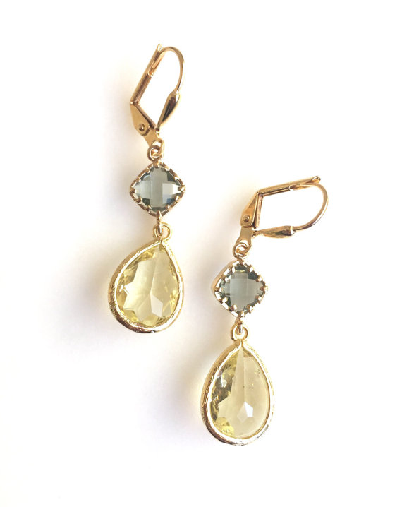 Awesome! Lovely! Elegant! Citrine yellow teardrops with the charcoal grey jewels in gold are just stunning and lovely!