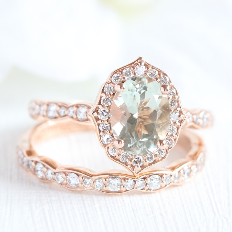 A bridal set that stands out from the crowd! Beautiful ring set of Oval Green Amethyst in Vintage Floral design with scalloped diamond