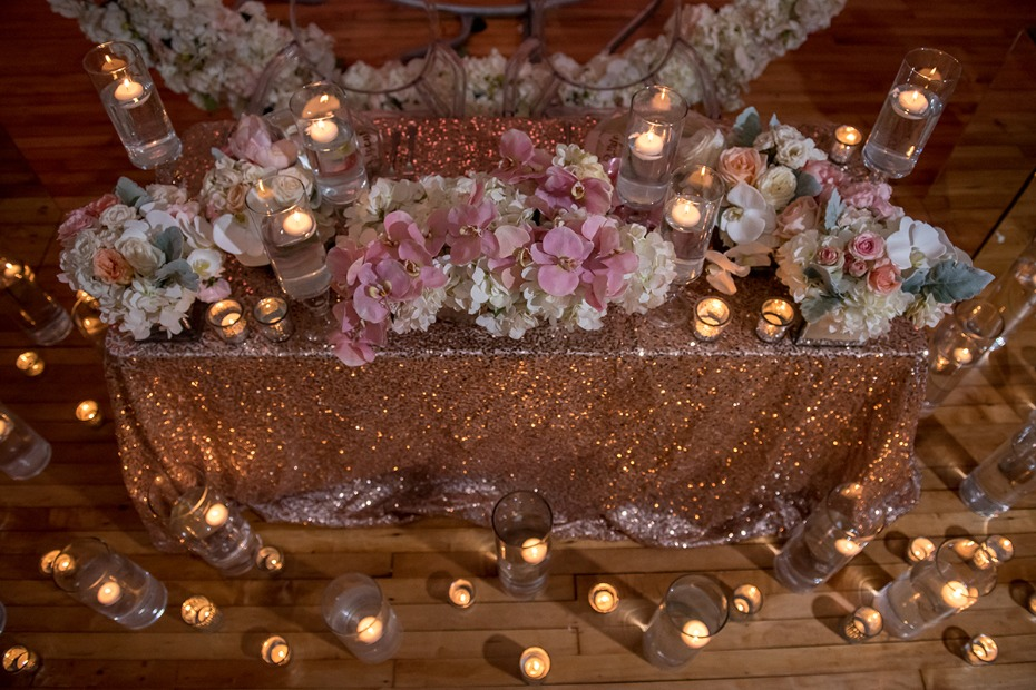 glam candle lit sweetheart table