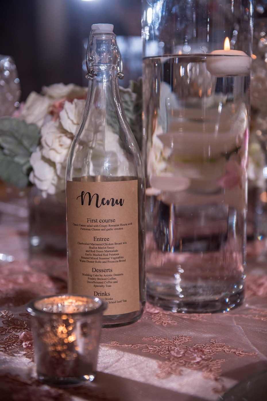 water bottle wedding menu
