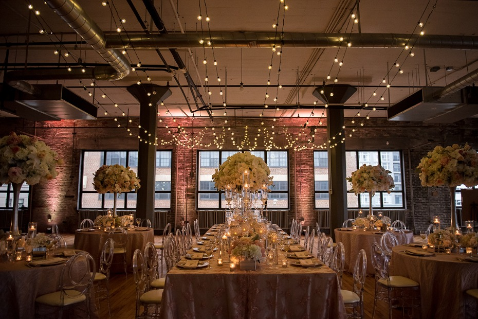 modern industrial romantic wedding reception