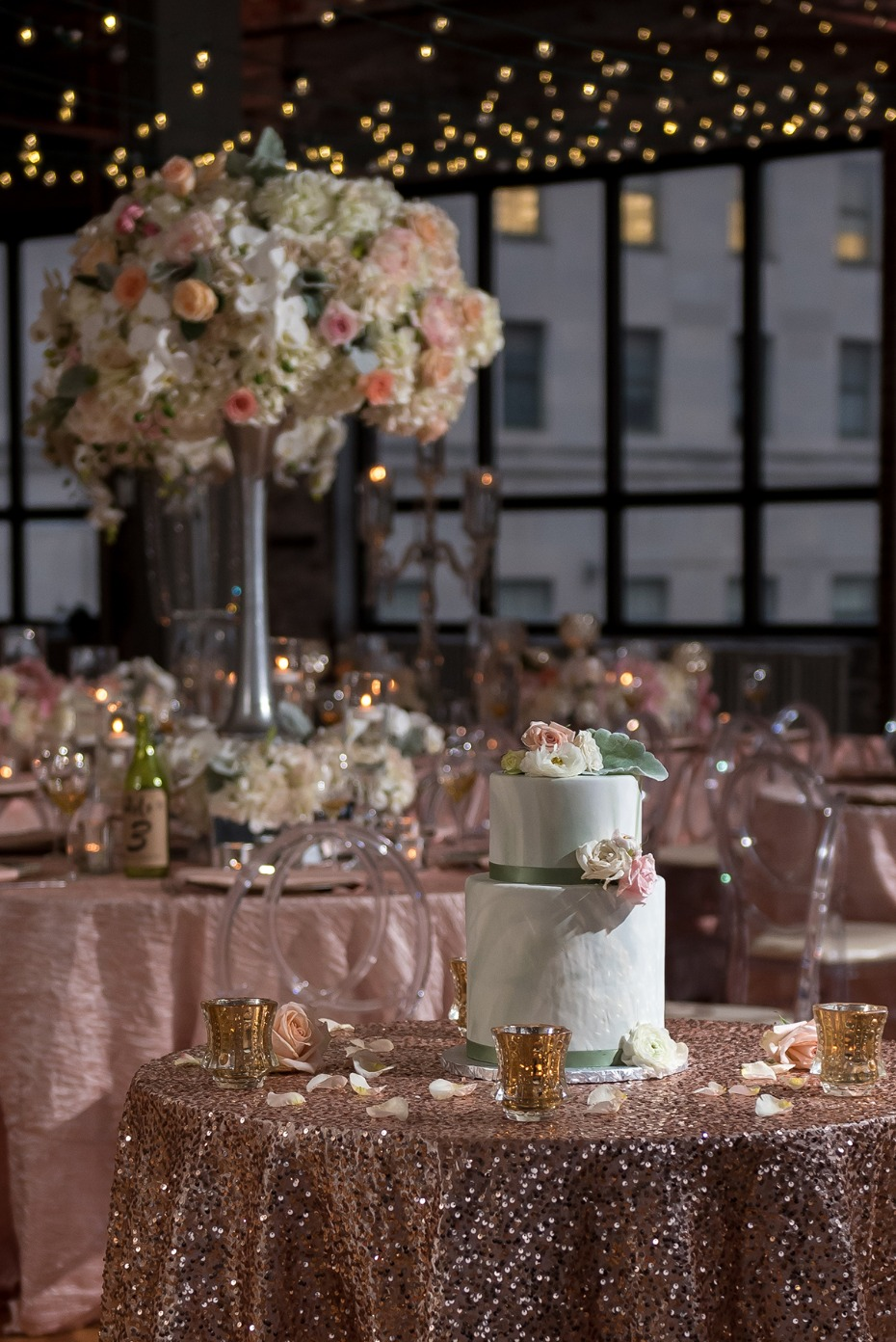 glamorous and romantic wedding reception