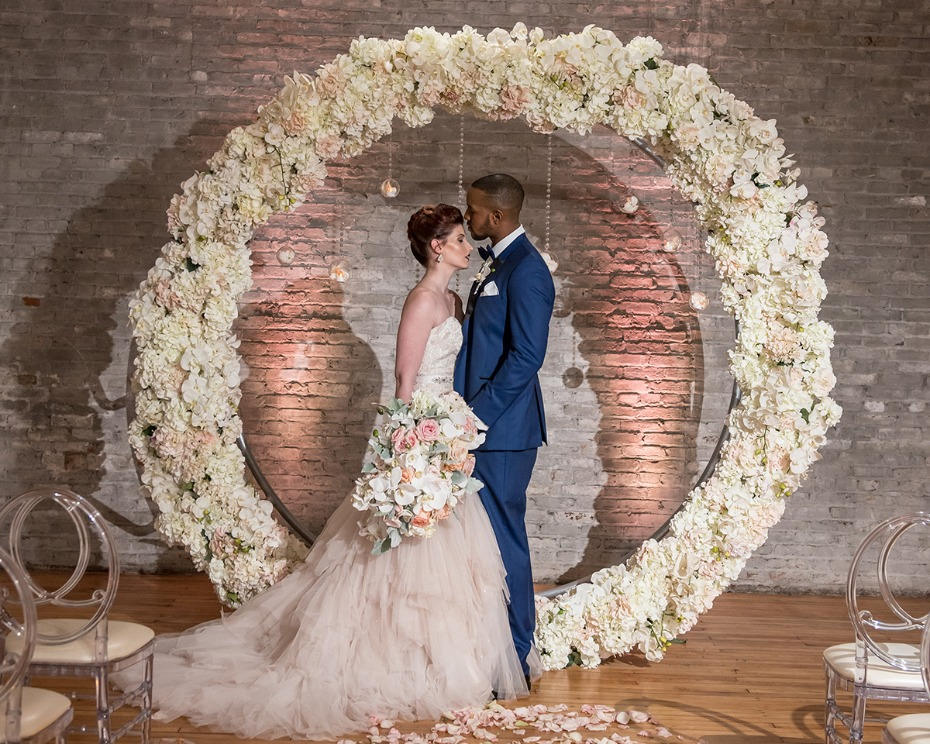 all white floral wedding backdrop wreath