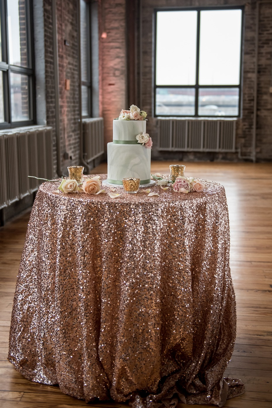 glamorous wedding cake table idea