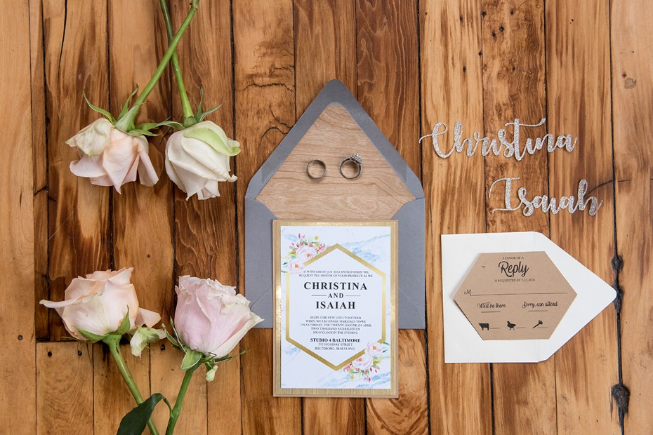 modern and romantic wedding invitation suite