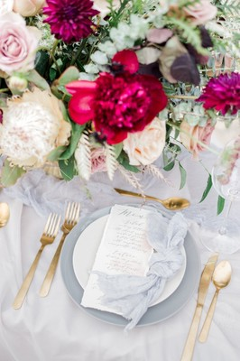Whimsical Neutral and Burgundy Elopement Inspiration