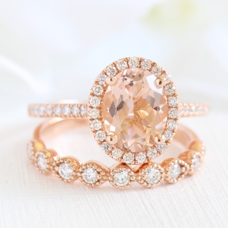 Morganite looks so gorgeous set in Rose Gold! See more Morganite Engagement Rings and Bridal Sets from La More Design!