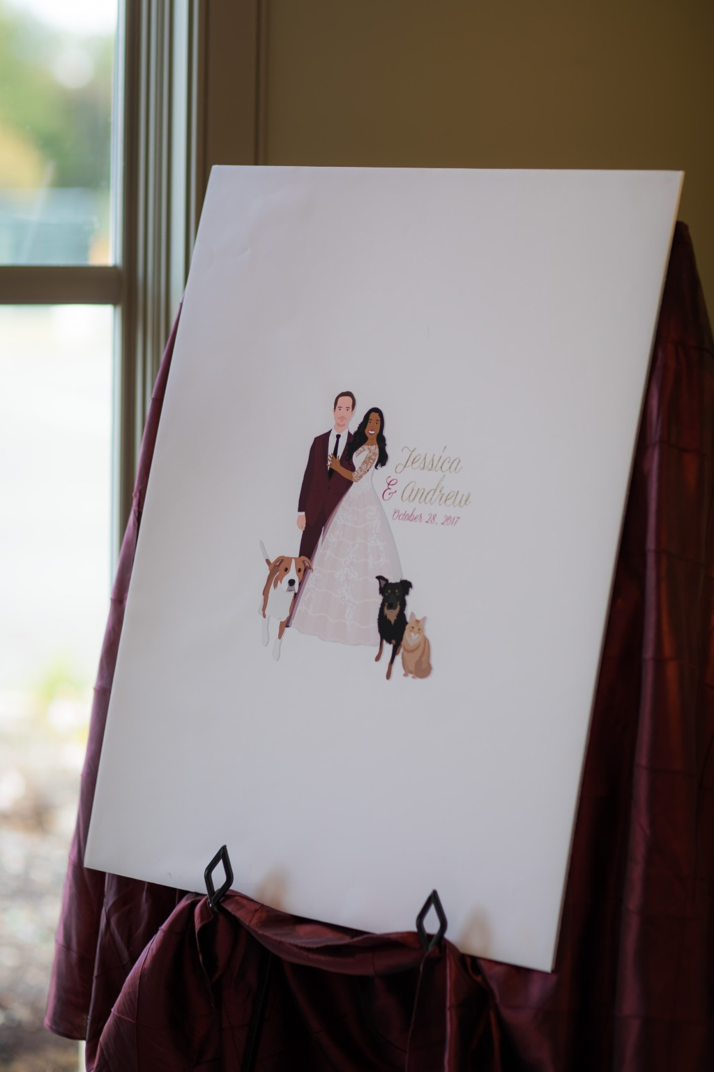 At Miss Design Berry, we love when couples add on all their pets!! If you have a lot of fur babies, feature them on your guest book