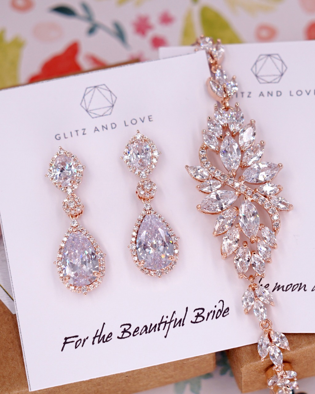 Rose Gold Fancy CZ jewelry set, earrings and bracelet, for brides, bridesmaids, mother of bride and groom, bridal shower gifts, wedding