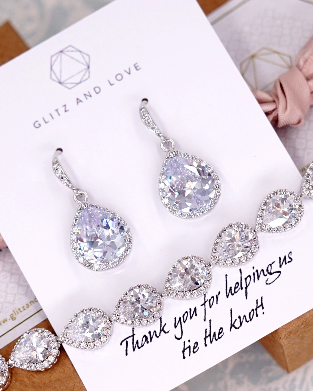 Silver Luxe Cubic Zirconia teardrop earrings and bracelet set, wedding jewelry, for brides, bridesmaids, mother of bride, mother of