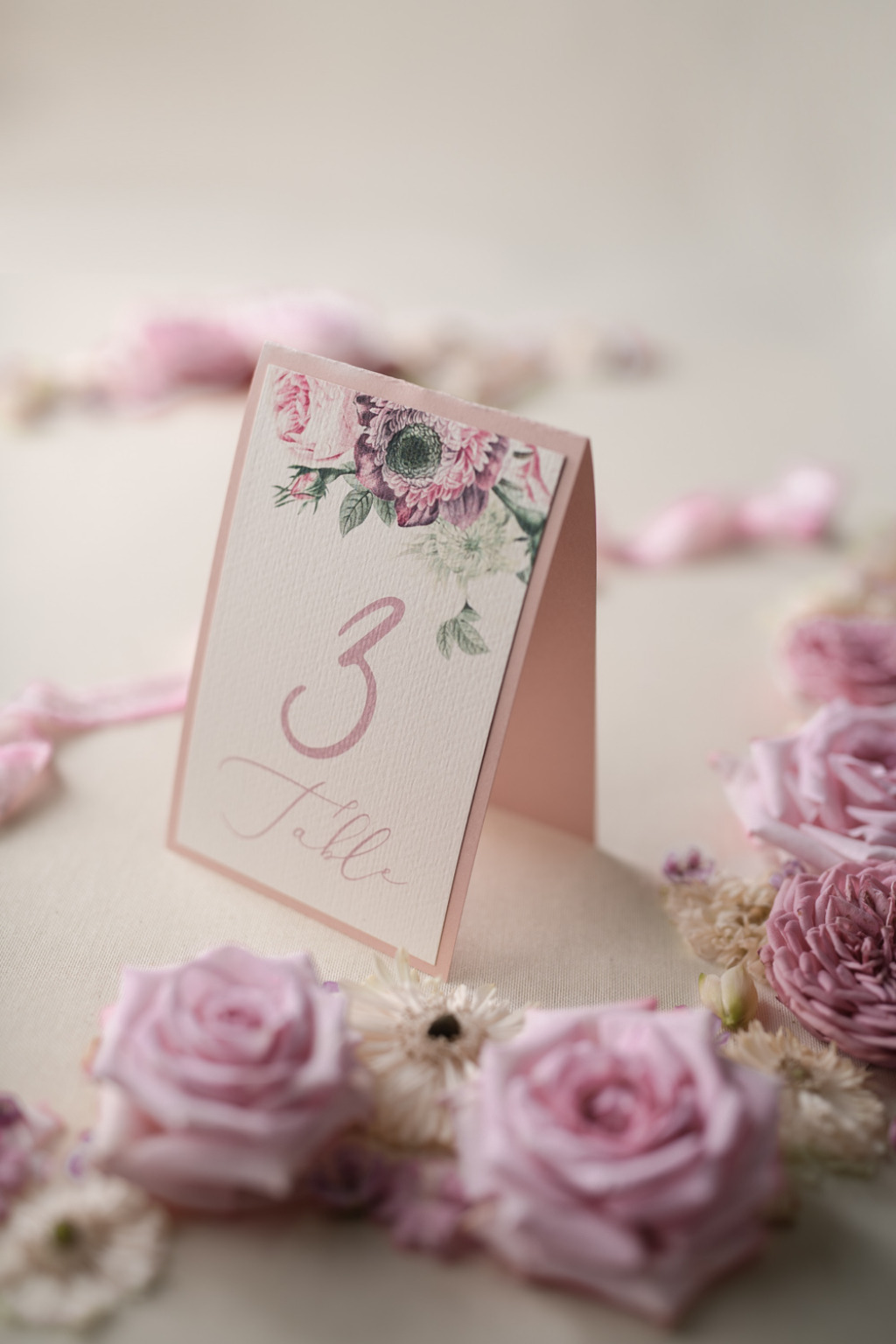 Floral wedding table number card