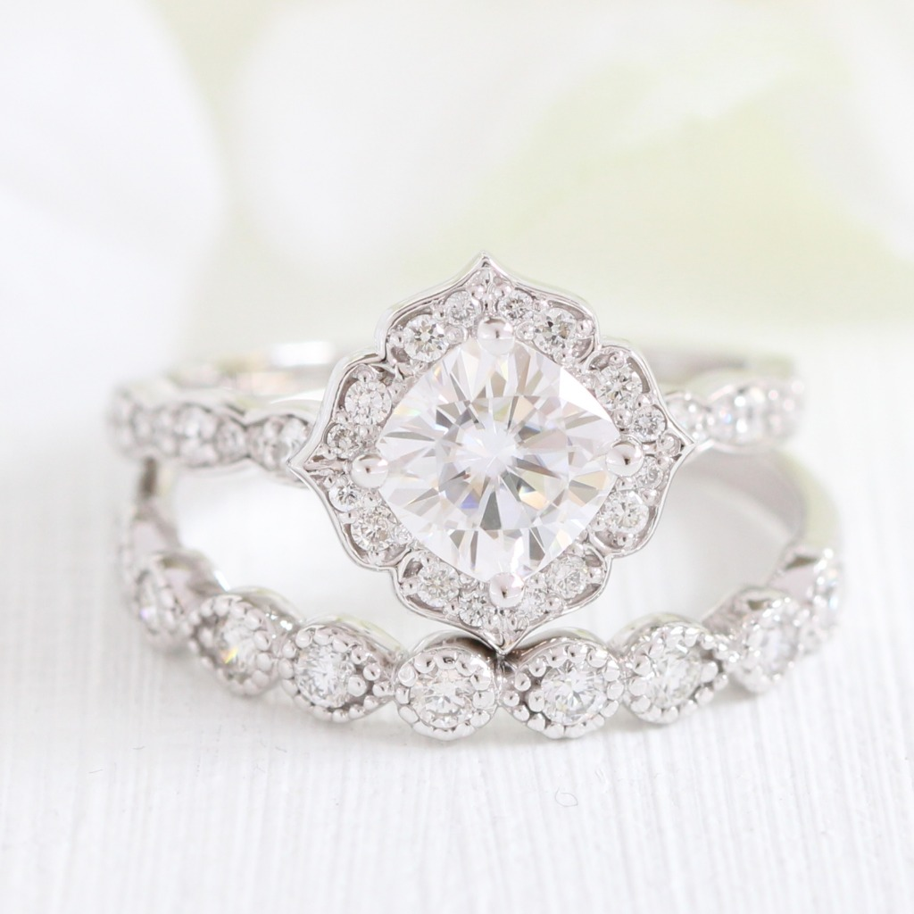 Delicate Bridal Set of Cushion Moissanite in Mini Vintage Floral design with Scalloped Diamond Band paired with a matching wedding