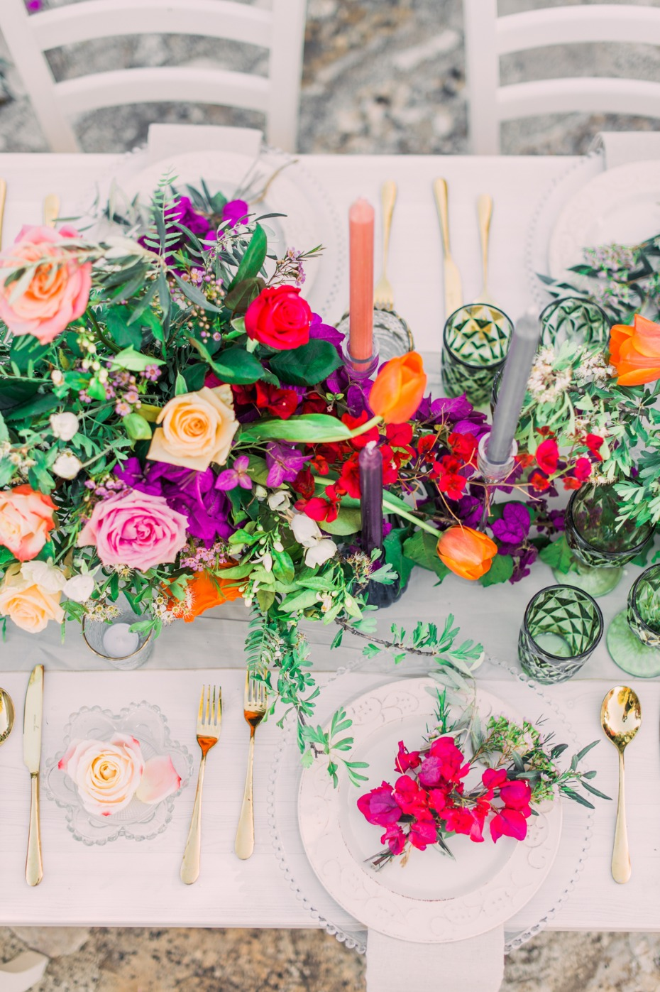 Colorful reception table decor