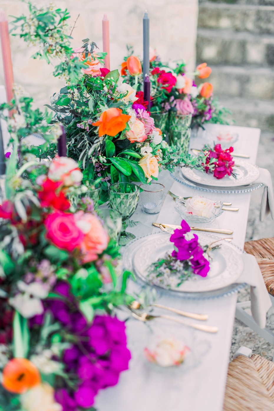 Colorful wedding reception decor