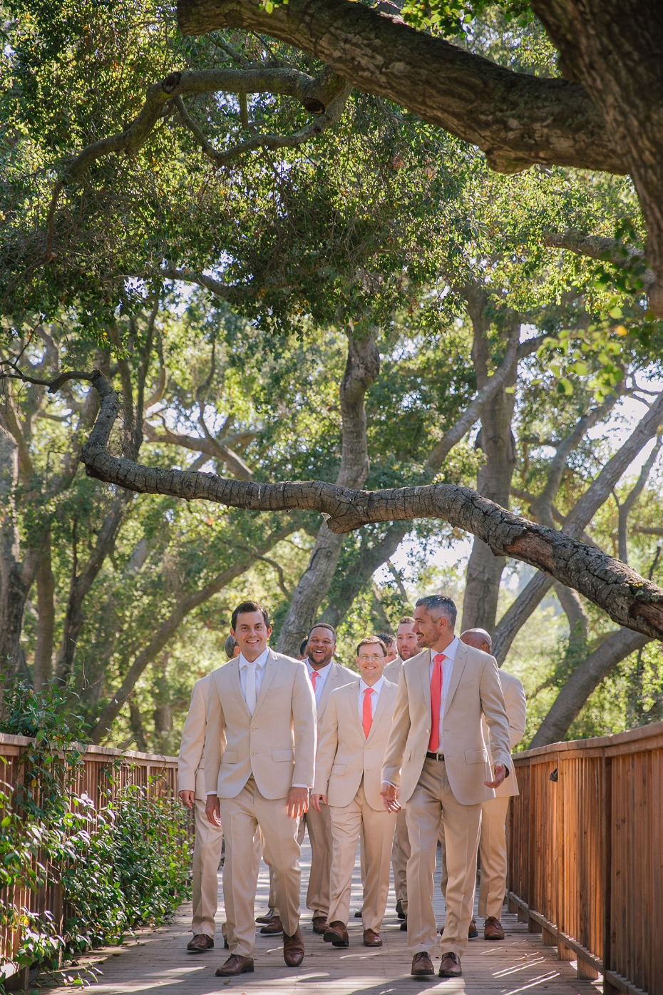 Tan suits with bright ties