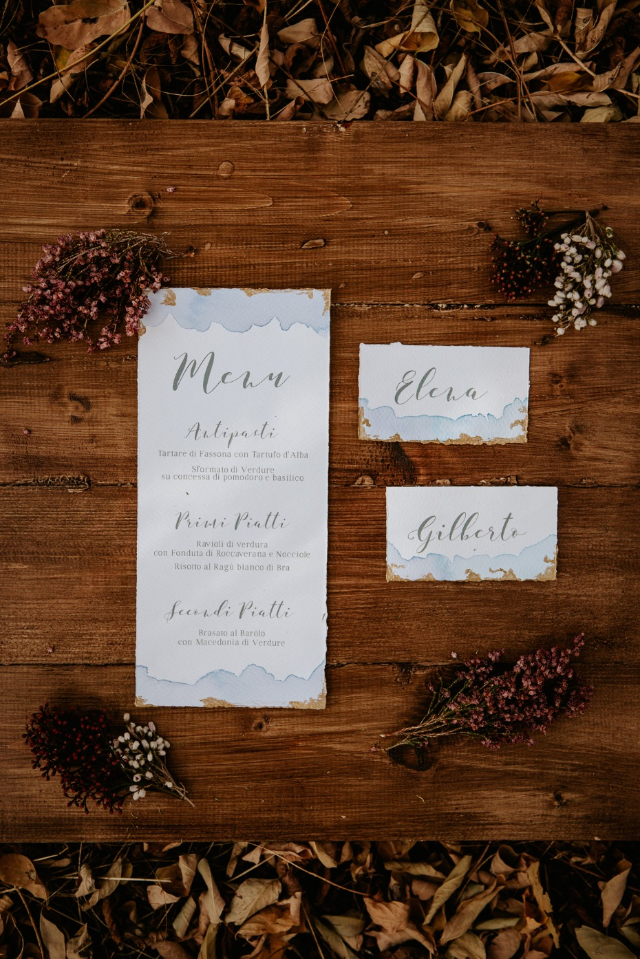 fall wedding with elegant wedding stationery