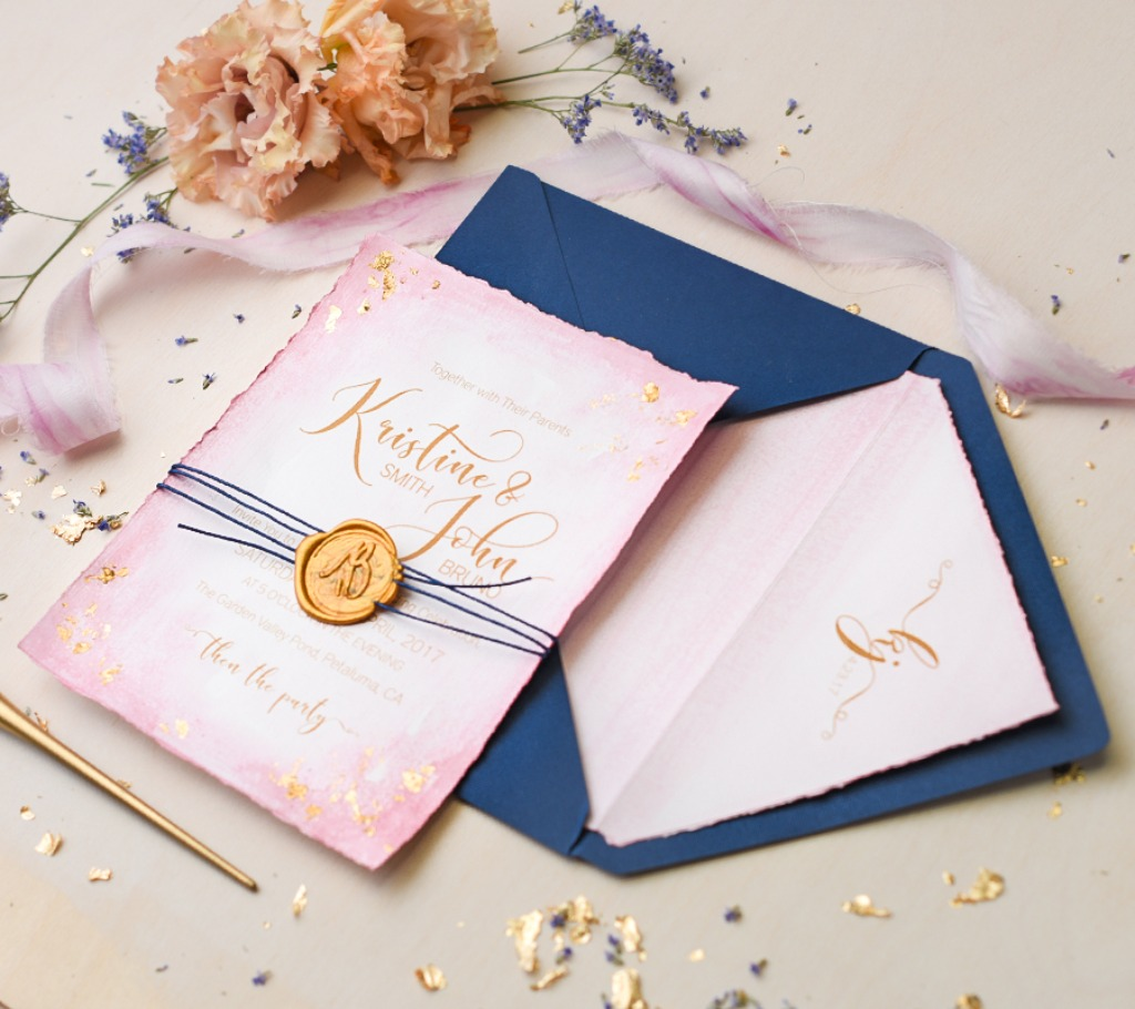 Handpainted wedding #invitation