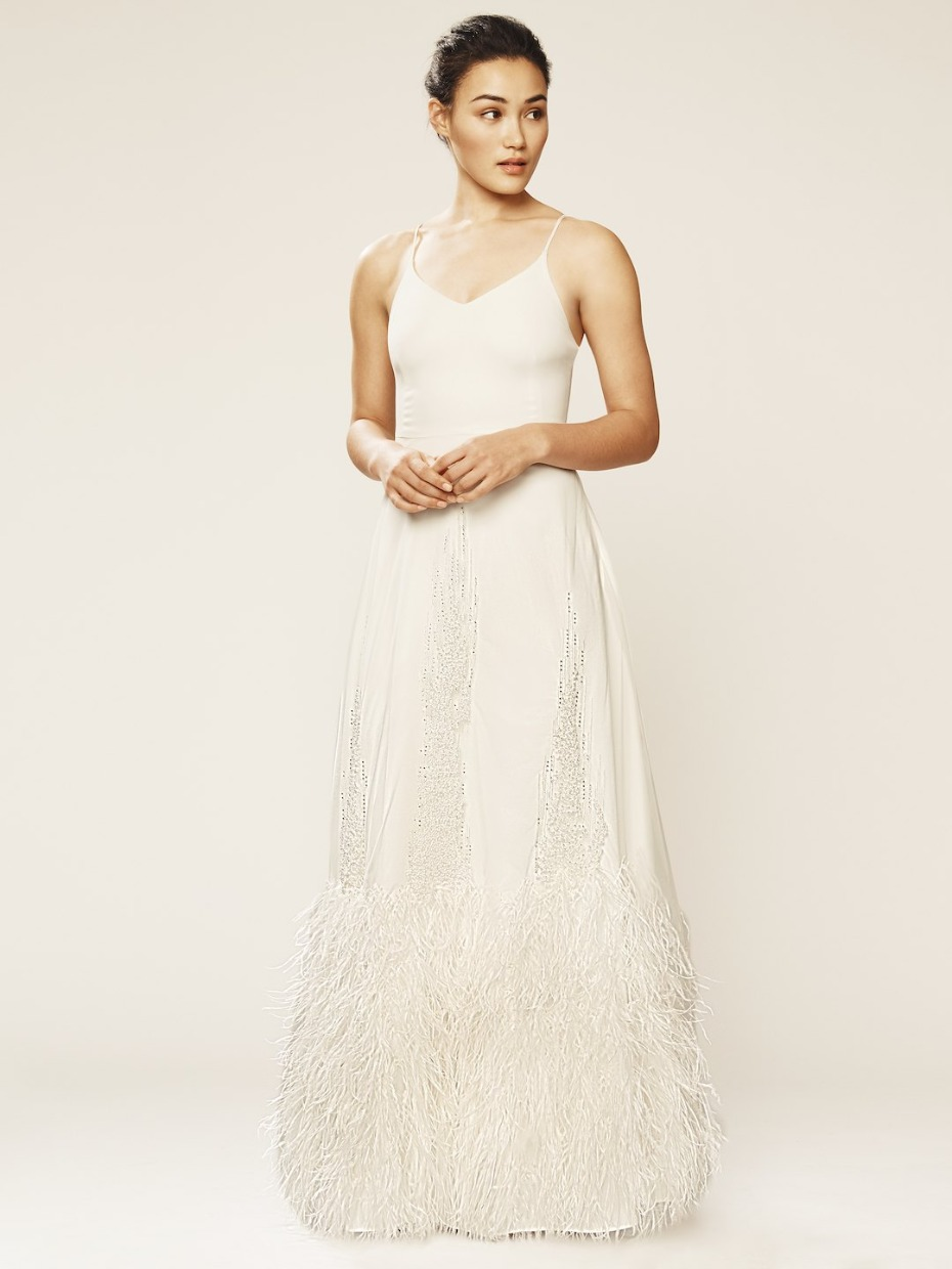 SJP X Gilt Bridal Collection Feather Dress