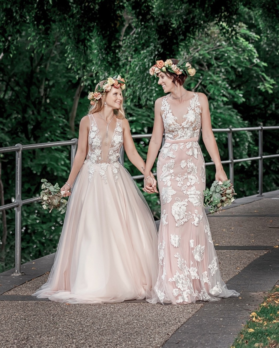 Gorgeous blush wedding dresses from Goddess By Nature