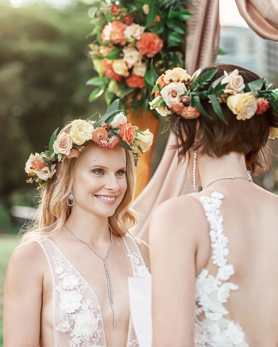 Flower crowns for the brides