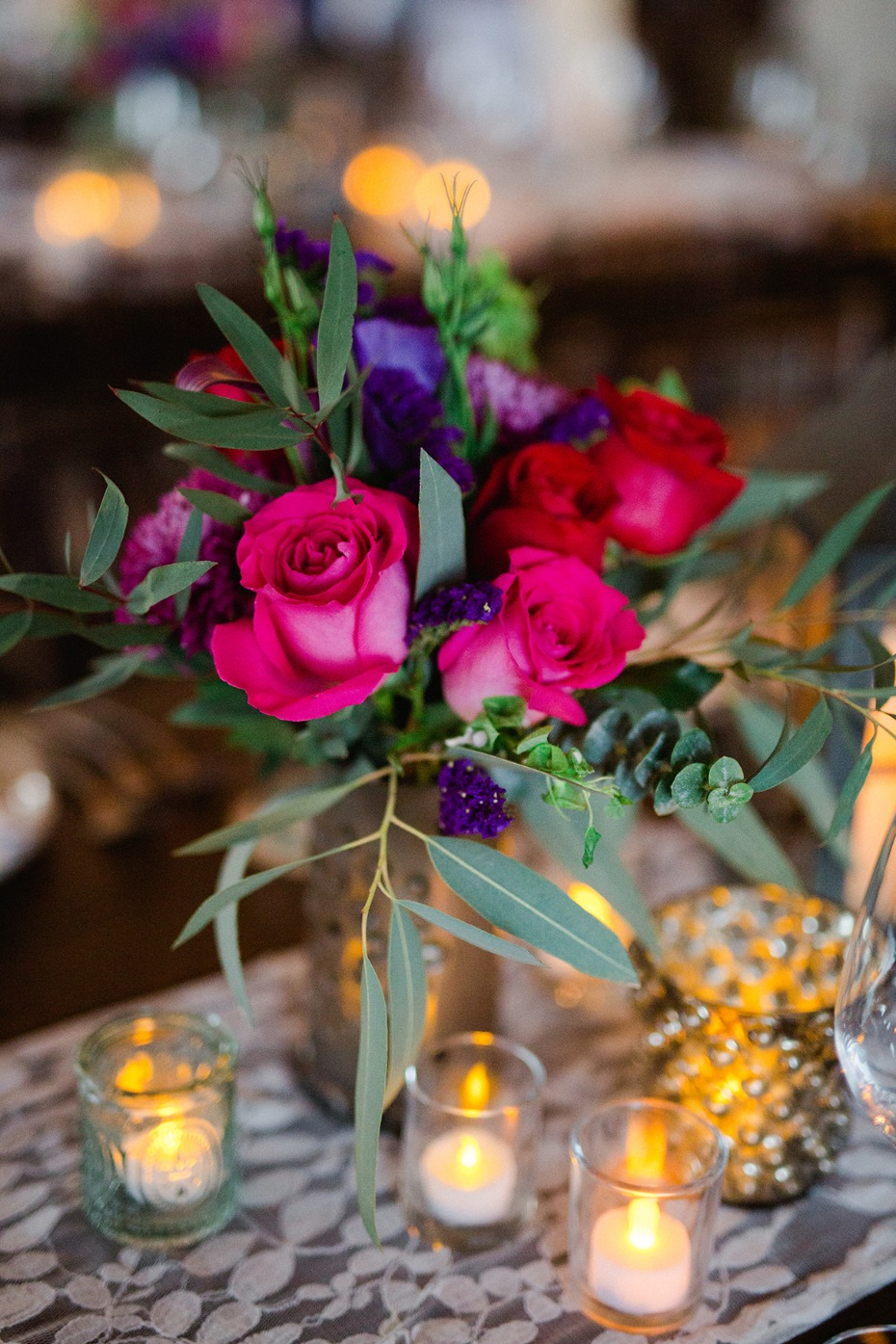 hot pink floral centerpiece idea