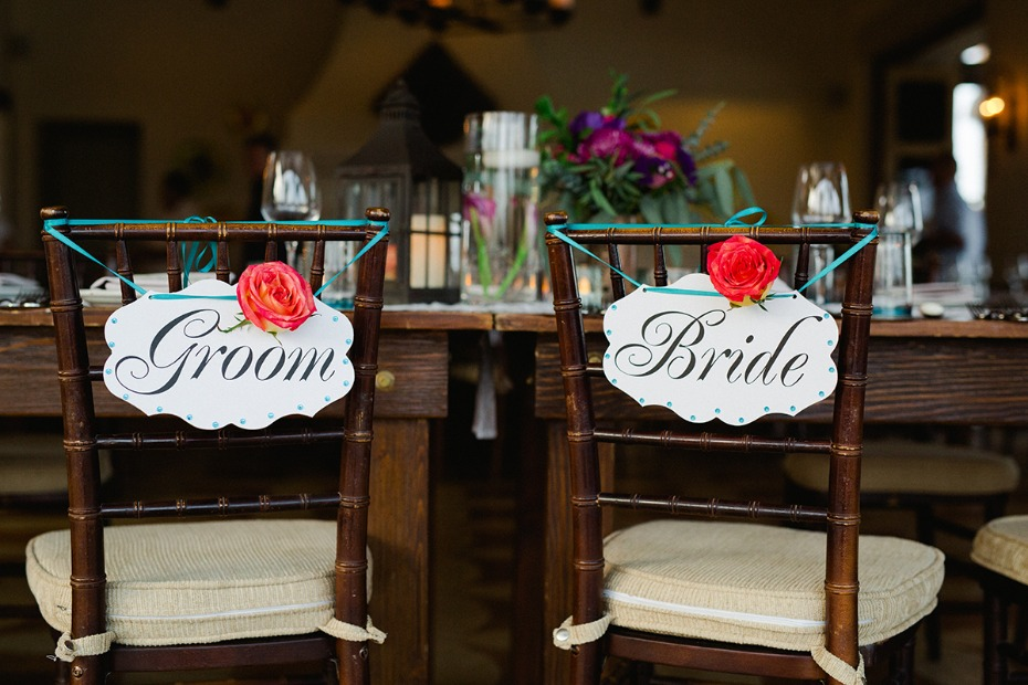 bride and groom wedding seat signs